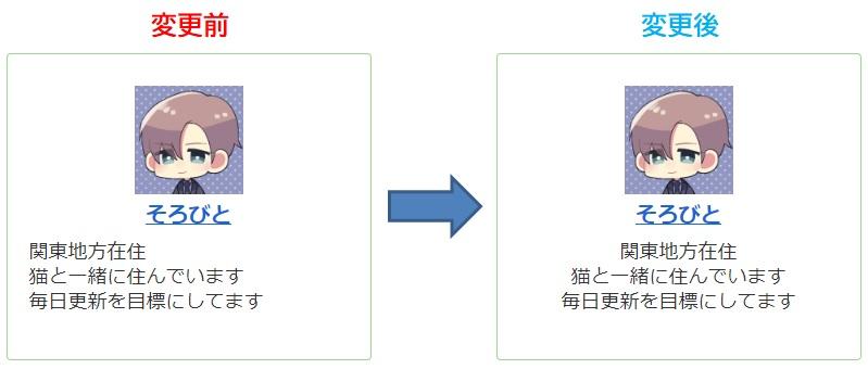 プロフィールコメントを中央寄せにする方法_変更比較